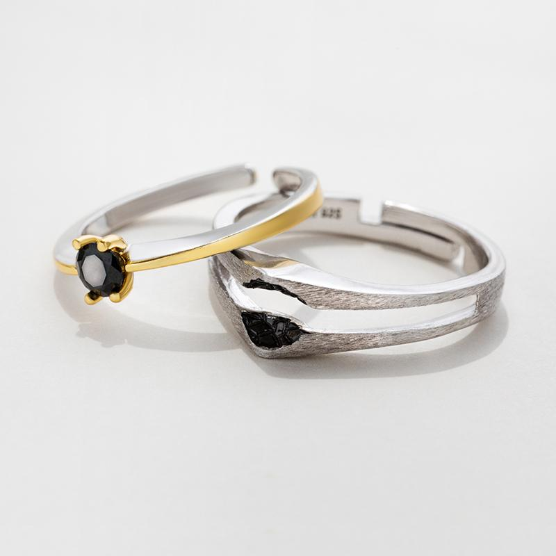 Meteorolite's Heart Personalized Adjustable Open End Couple Ring
