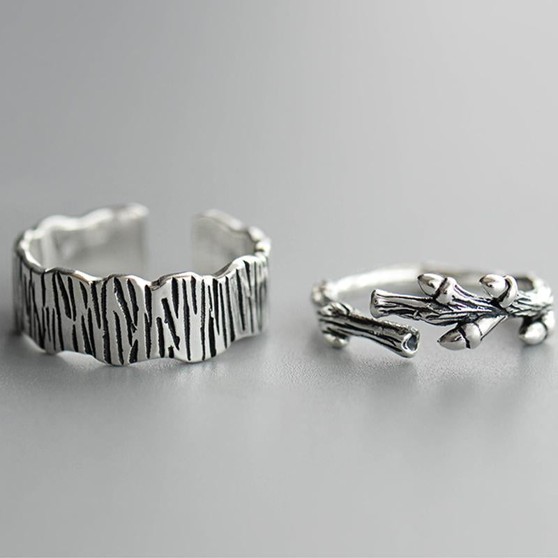 Branch and Trunk Personalized Adjustable Open End Couple Ring