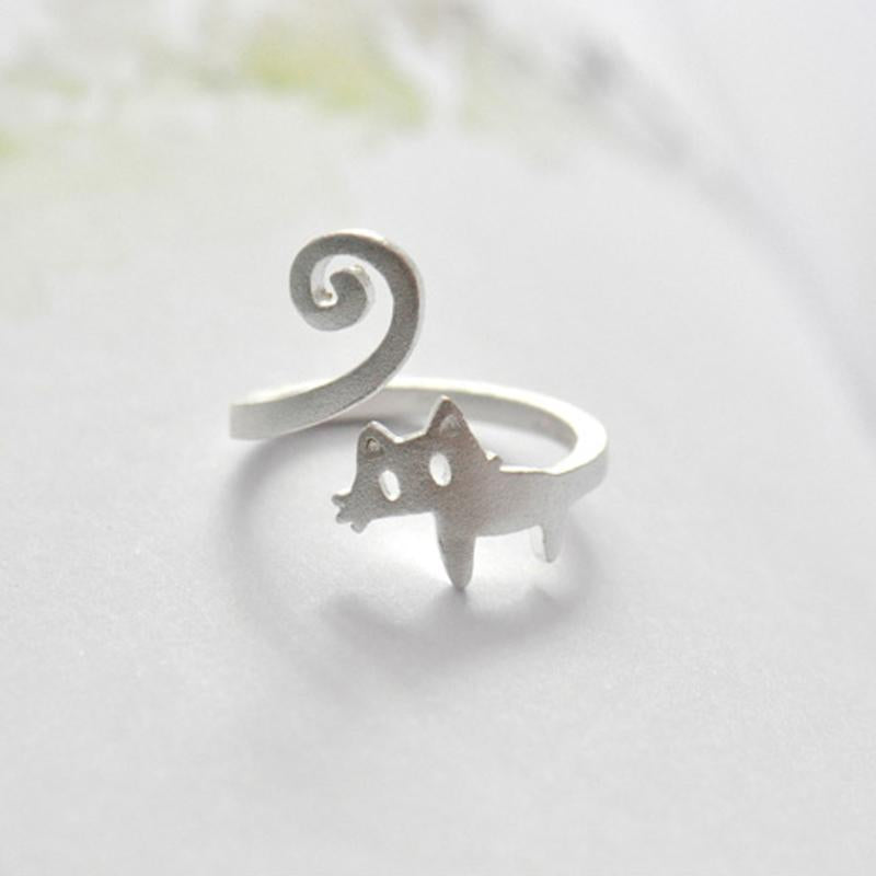 Cat Personalized Adjustable Open End Single Ring
