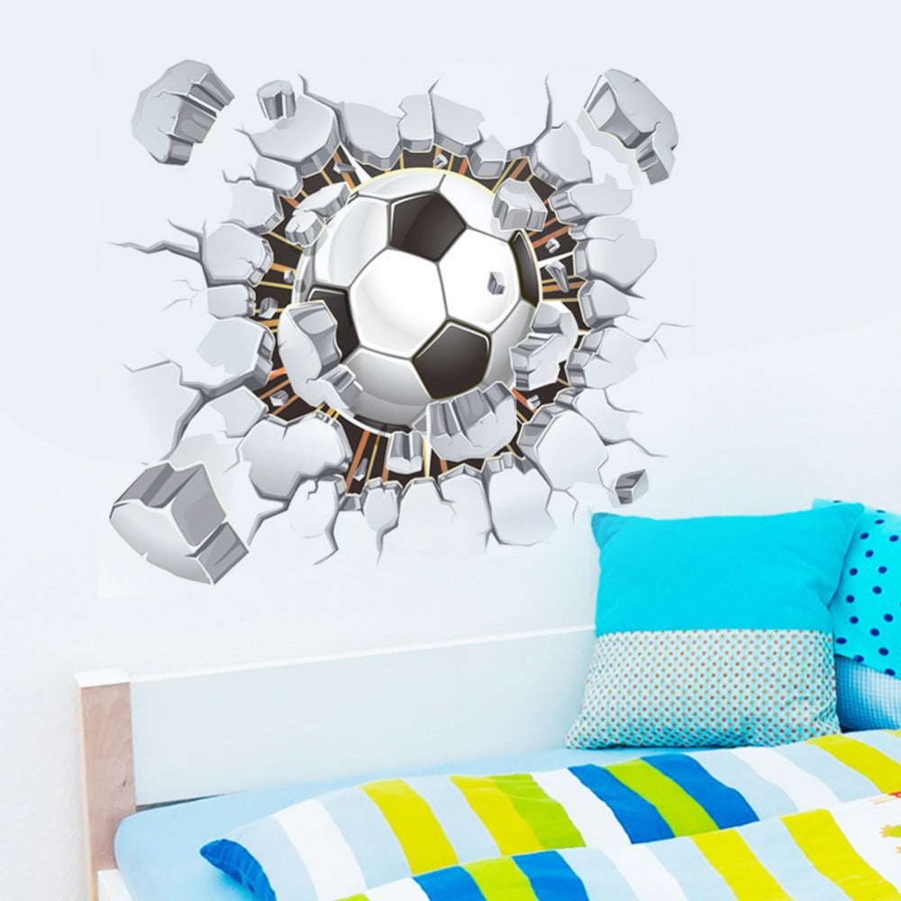 Creative Soccer Football Cracked 3D View Decorative Wall Stickers