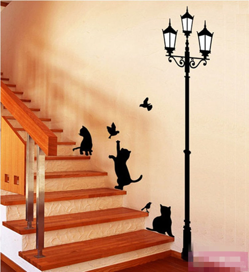 DIY Ancient Lamp Cats and Birds Removable Wall Stickers Home Decoration