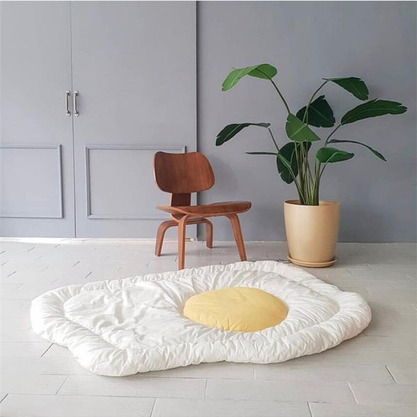 Cute Quilted Omelette Shape Baby Crawling Blanket  Kids Room Home Decor
