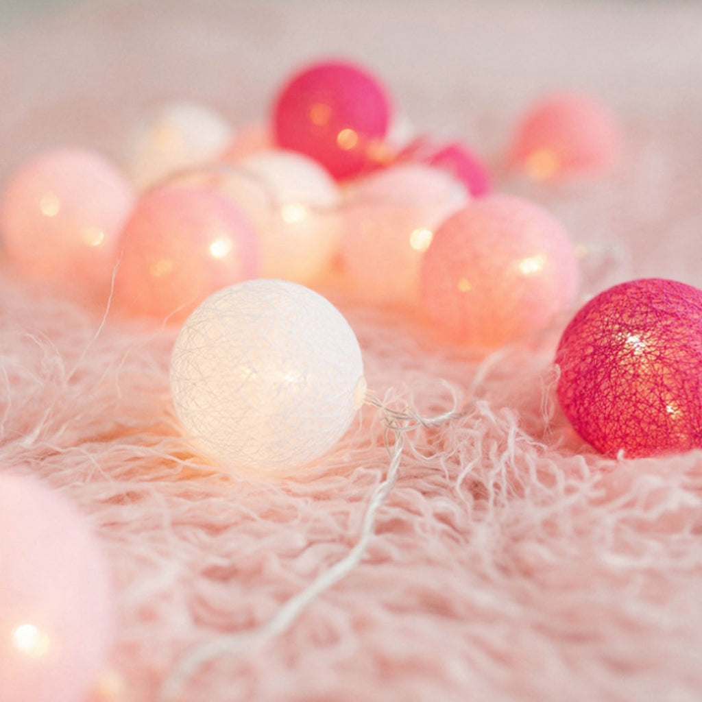 LED Cotton Ball Fancy Lantern String Light Battery Type  Ball Ornaments Holiday Party Decor