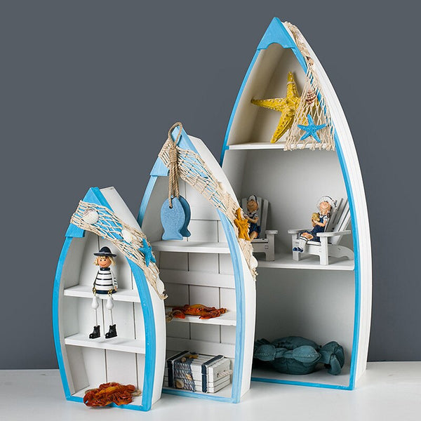 Nordic Wood Ship Storage Household Furniture Home Decoration