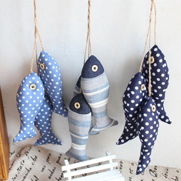 3pcs/set  Linen Cloth Fish Hanger Bunch Nautical 3D Sticker  Decor