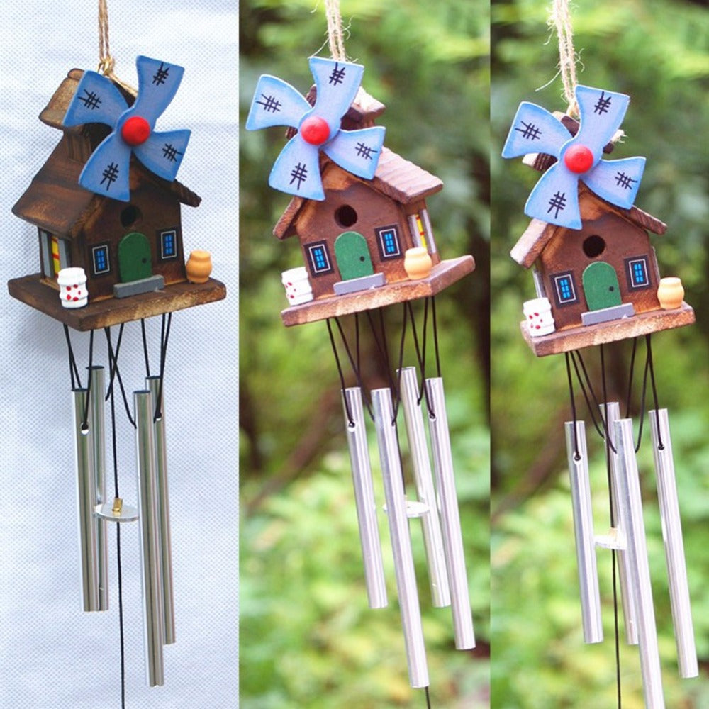 Log-cabin Deep Resonant 8 Tube Wind chime Church Bells Wind Chimes Wall Hanging Home Decor