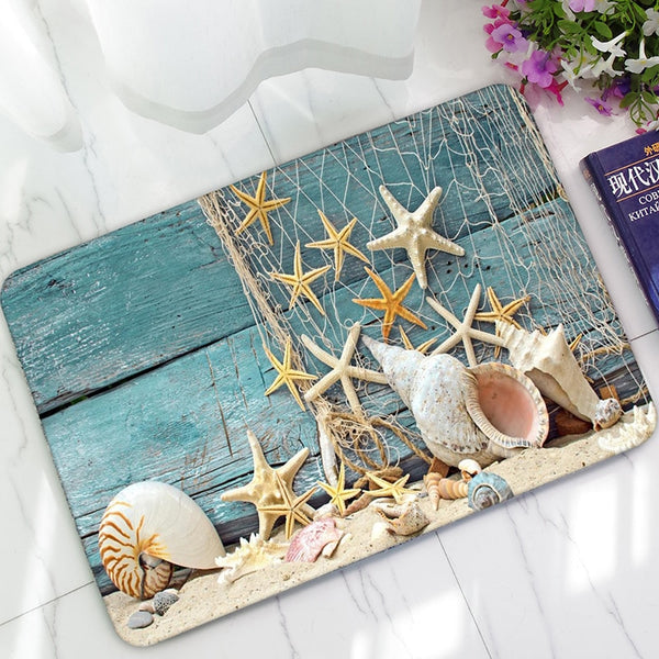 1pcs  40x60cm Non-slip Mat Polyester Cartoon Starfish Shell Home Floor Mats