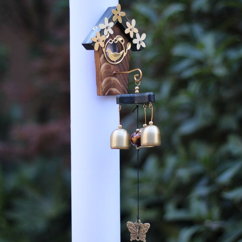 Copper Bird Nest Wind Chimes Antique House Decoration Windchimes