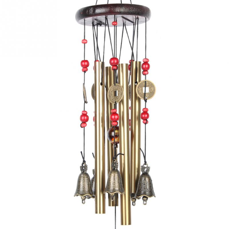 60cm 4 Tubes 5 Bells Copper Alloy Outdoor Living Wind Bells Yard Garden Decor