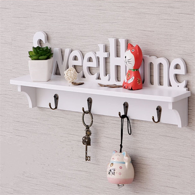 DIY Hollow Wood Sweet Home Wall Shelf with Hooks  Home Decor