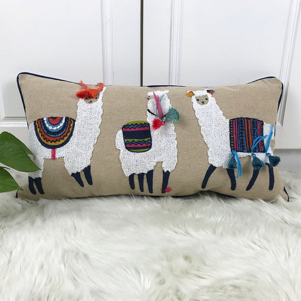 30x60cm Cute Alpaca Cushion Cover Beige Embroidery Pillowcase For Sofa Home Decorative