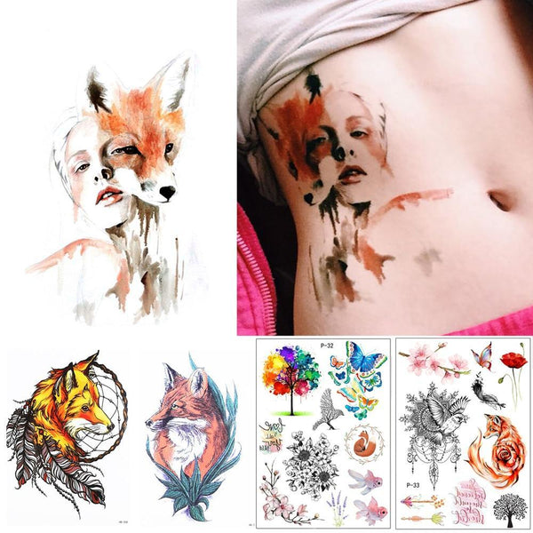 Beautiful Fox Women Temporary Tattoo - unscandy