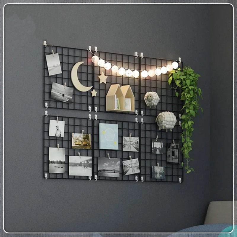 Iron Metal Grid Decor Photo Frame Wall Art Display Mesh + 10pcs Wooden Clips