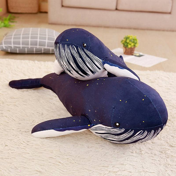 1pc Kawaii Big Blue Whale Doll Plush Stuffed Toy Oversized Whale Cushions Pillow Home Decoration