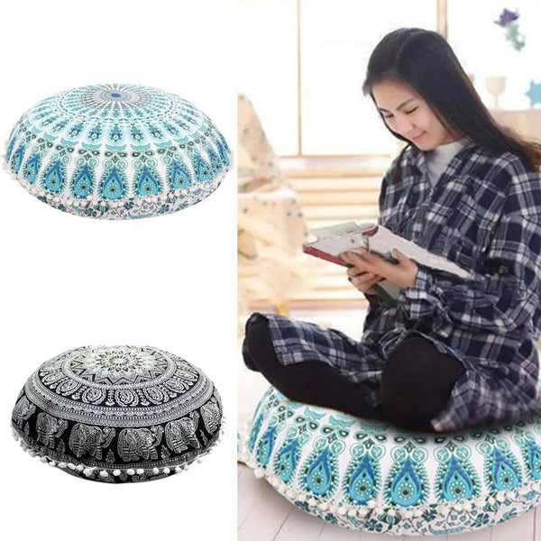 43*43CM Round Bohemian Cushion  Floor Pillows Cover Case