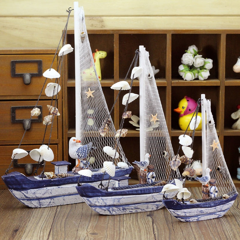 Mediterranean Style Retro Miniature Sailing Boat Figurines Ornaments Wooden Crafts Blue Ship Shell Boats