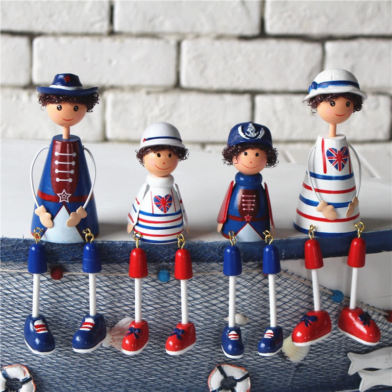 4pcs Ocean Navy Hanging Foot Family Doll Ornaments  Home Decor