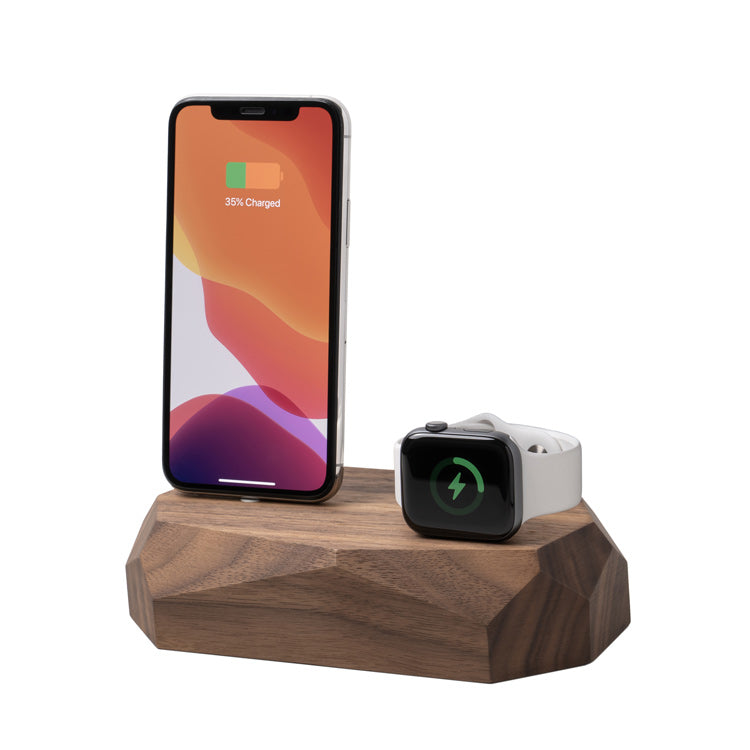 Combo dock - iPhone & Apple Watch en bois - Oakywood France