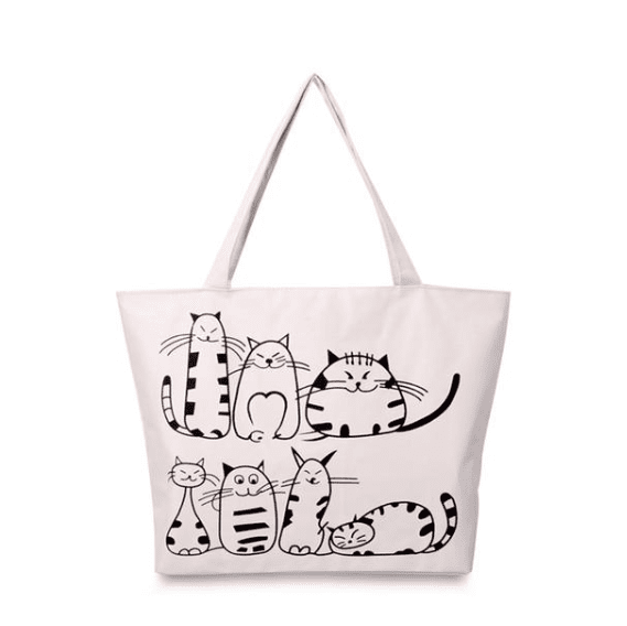 Cartoon Cats Canvas Tote - Girly Got Style