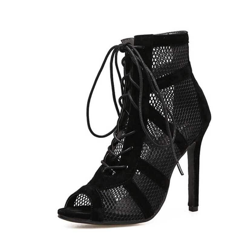 Lace Up Strap Open Toe High Heels - Girly Got Style