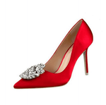 Elegant Red Silk Satin High Heels - Girly Got Style
