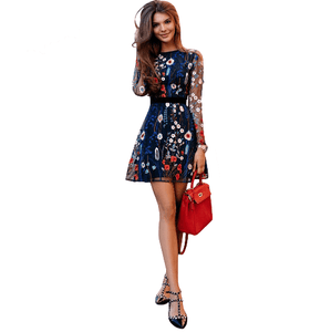Floral Embroidery Sheer Mesh Dress - Girly Got Style