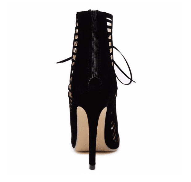 Lace Up Cutout High Shoes - Girly Got Style