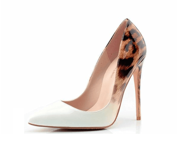 Leopard White 10cm Pointed Toe Heels - Girly Got Style
