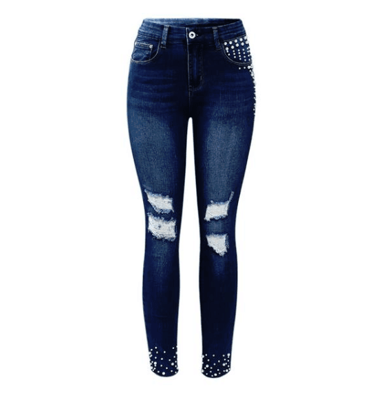 Vintage Pearl Studded Mid High Waist Skinny Jeans - Girly Got Style