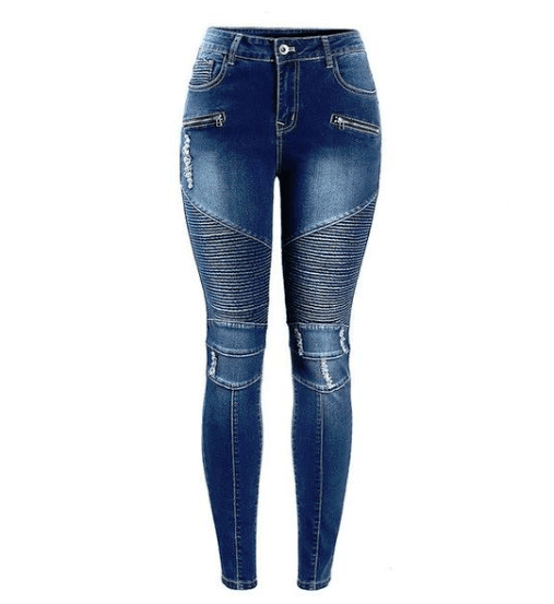 Biker Zip Mid High Waist Skinny Motor Jeans - Girly Got Style