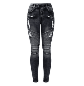 Motorcycle Biker Mid High Waist Skinny Jeans - Girly Got Style