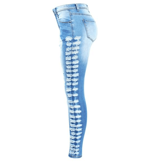 Ripped Distressed Denim Skinny Jeans - Girly Got Style