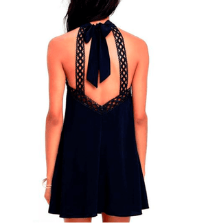 Backless Halter Lace Knee High Dress - Girly Got Style
