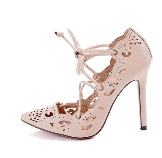 Hollow Out Strap High Heels - Girly Got Style