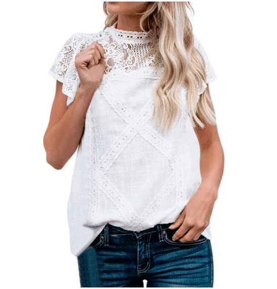 Causal Lace Patchwork Short Sleeve - Girly Got Style