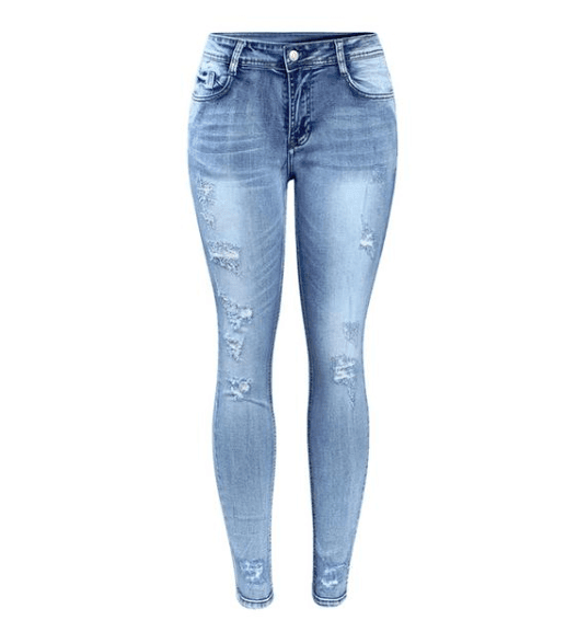 Light Distressed Mid Waist Stretchy Ripped Denim - Girly Got Style