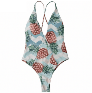 Pineapple High Cut Cross Back Bathers - Girly Got Style