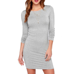 Long Sleeve Slim Fitting Dress - Girly Got Style