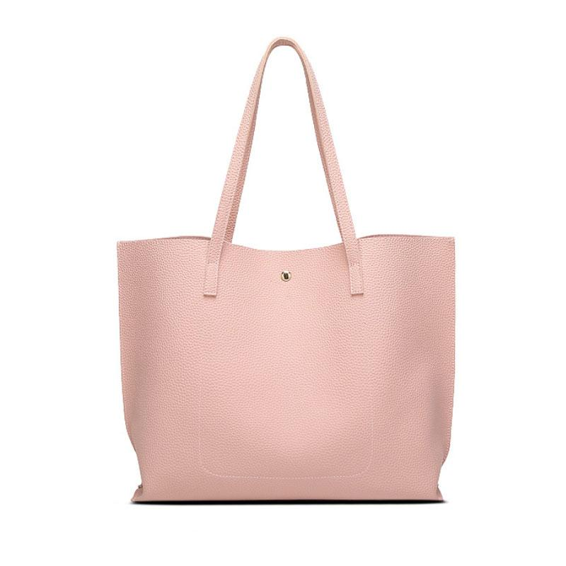 Soft Leather Shoulder Tote - Girly Got Style