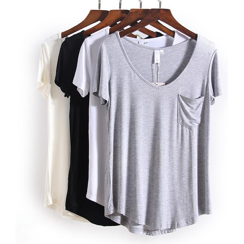 V-Neck Casual Short Sleeve Tee Shirt - Girly Got Style