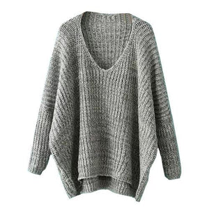 Warm Loose Knitted Pullover V-Neck - Girly Got Style