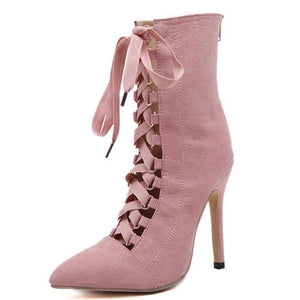 Suede Cross-Tie Strap High Heel Pointed Toe Boots - Girly Got Style