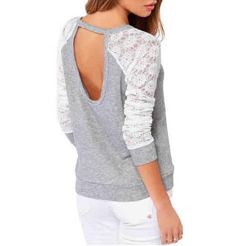 Backless Embroidery Lace Sweatshirt - Girly Got Style