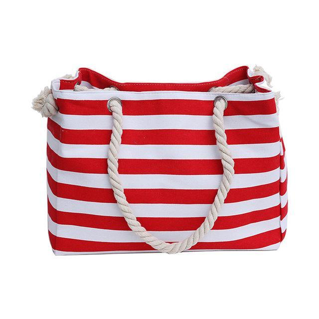 Stripe Shoulder Beach Bag - Girly Got Style