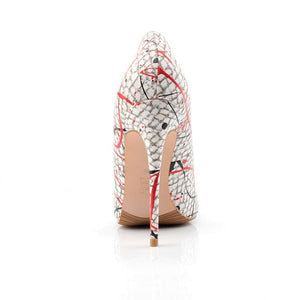 Snake Printed Paint Drop Pattern Heels - Girly Got Style