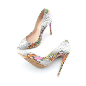 Snake Pattern Thin Heels - Girly Got Style