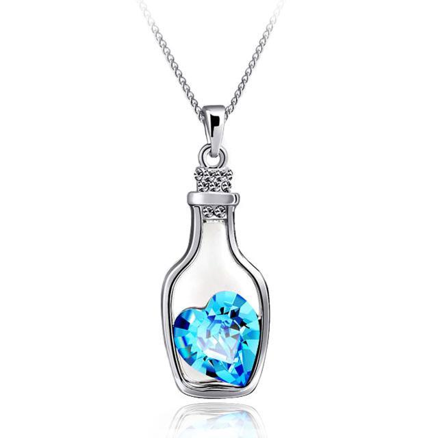 Bottle Heart Shape Cubic Zircon Necklace - Girly Got Style
