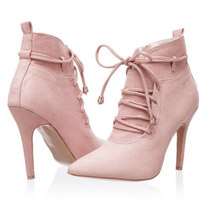 Pointed Toe Cross-Tied Boots - Girly Got Style