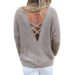 V Neck Backless Long Sleeve Pullovers - Girly Got Style