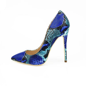 Blue Snake Print Stilettos - Girly Got Style